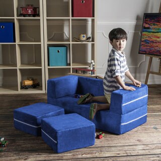 Jaxx Zipline Modular Kids Loveseat with Ottomans