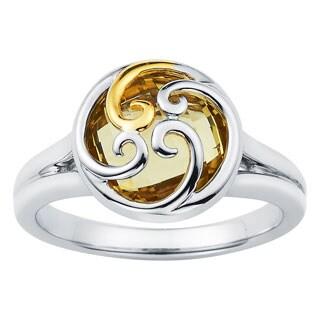 Boston Bay Diamonds 18k Gold and Sterling Silver 10mm Lemon Quartz Ring