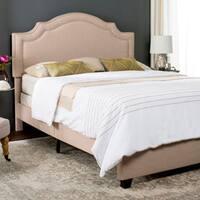Safavieh Theron Light Beige Linen Upholstered Bed (Queen)