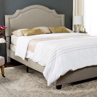 Safavieh Theron Light Grey Linen Upholstered Bed (Full)