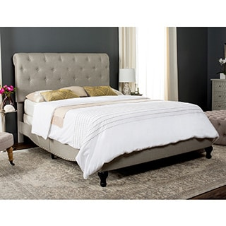 Safavieh Hathaway Light Grey Linen Upholstered Tufted Rolled Back Bed (Queen)