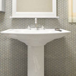 SomerTile 12 x 12.625-inch Penny Cookies and Cream Glossy Porcelain Mosaic Floor and Wall Tile (Pack