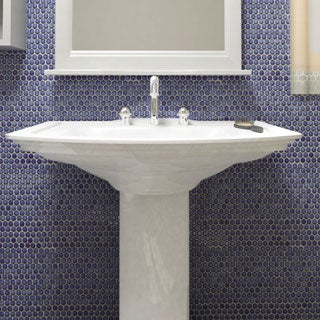 SomerTile 12 x 12.625-inch Penny Sapphire Glossy Porcelain Mosaic Floor and Wall Tile (Pack of 10)