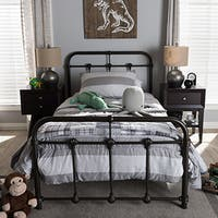 Mandy Shabby Chic Vintage Antique Dark Bronze Full/Queen Size Iron Metal Platform Bed