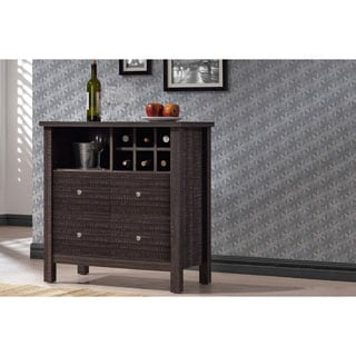 Dakota Modern and Contemporary Dark Espresso Brown Wood Wine Bar Cabinet