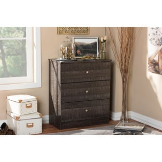 Baxton Studio Decon Modern and Contemporary Espresso Brown Wood 3-Drawer Storage Chest