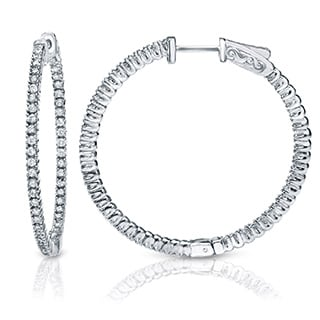 Suzy Levian 14K White Gold 1.601ct TDW Inside Out Diamond Hoop Earrings (G-H, SI1-SI2)
