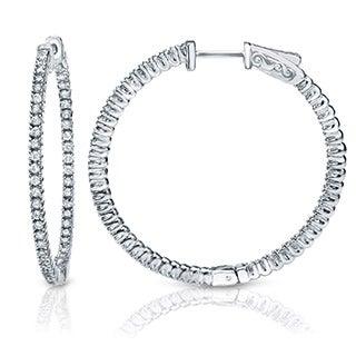 Suzy Levian 14K White Gold 1.601ct TDW Inside Out Diamond Hoop Earrings