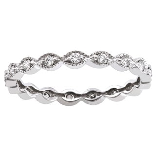 Beverly Hills Charm 10k White Gold 1/4ct TDW Diamond Vintage Eternity Wedding Band Ring (H-I, I2-I3)