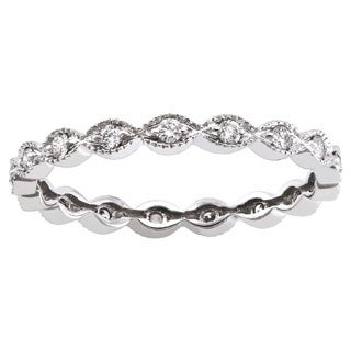 Beverly Hills Charm 10k White Gold 1/4ct TDW Diamond Milgrain Eternity Wedding Band Ring (H-I, I2-I3)