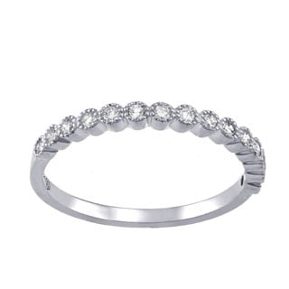 Beverly Hills Charm 10k White Gold 1/4ct TDW Diamond Anniversary Stackable Milgrain Band (H-I, I2-I3)