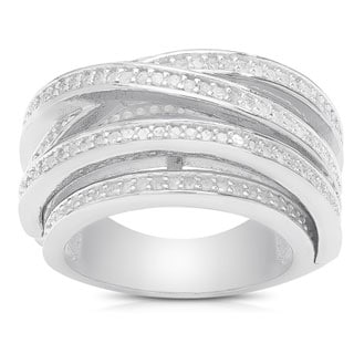 Finesque Sterling Silver 1ct TDW Diamond Crossover Ring (I-J, I2-I3)