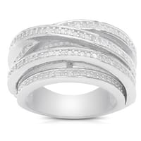 Finesque Sterling Silver 1ct TDW Diamond Crossover Ring