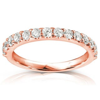 Annello by Kobelli 14k Rose Gold 1/2ct TDW Womens Diamond Wedding Band