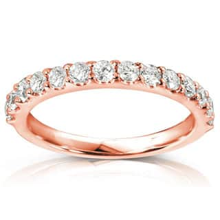 annello by kobelli 14k rose gold 12ct tdw womens diamond wedding band - Rose Gold Wedding Rings For Women