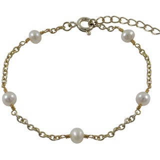 Luxiro Gold Finish Children's Freshwater Pearl Link Bracelet