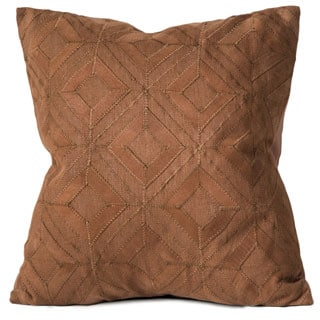 Chauran Cordova Cognac Linen/ Suede Down and Feather Filled 18-inch Pillow