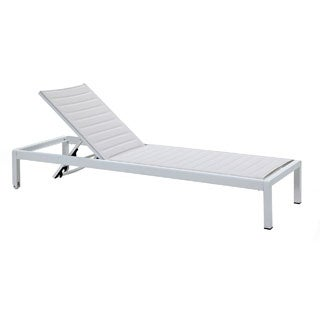 Jardin Ribbed Outdoor Chaise Lounge in All White