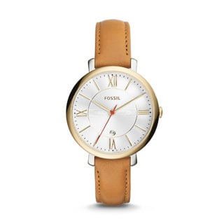 Fossil Women's Jacqueline Silver Dial Tan Leather Band Watch ES3737