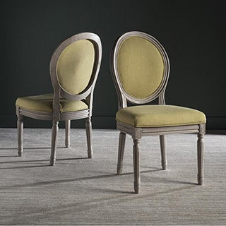 Safavieh Old World Dining Holloway Spring Green/ Grey Parisian Oval Dining Chairs (Set of 2) - Green - 12' x 15'