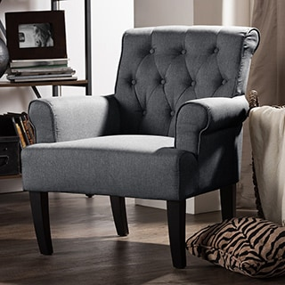 Baxton Studio Barret Modern and Contemporary Grey Linen Fabric Upholstered Rolled-Arm Button-tufting Accent Club Chair