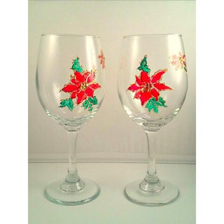 Atkinson Creations Hand-painted Stained Glass Red Poinsettia 20-ounce Beautiful Holiday Wine Glasses with Crystals (Set of 2)