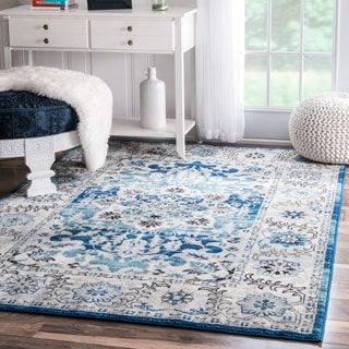 nuLOOM Traditional Persian Fancy Aqua Rug (5'3 x 7'9)