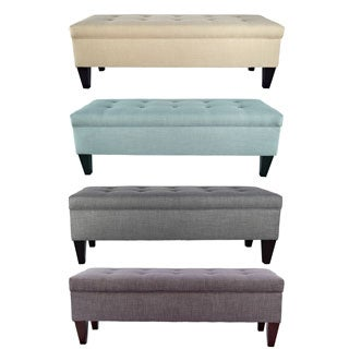 Brooke Button Tufted Long Storage Bench Ottoman