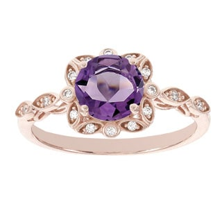 H Star 14k Rose Gold Amethyst and Diamond Accent Ring
