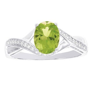 H Star 14k White Gold 1/8ct Oval Peridot and Diamond Ring (H-I, I1-I2)