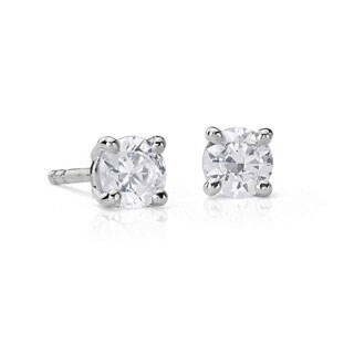 Suzy Levian 14K Gold 1/2ct TDW Classic Four Prong Diamond Stud Earrings (G-H, SI2-SI3)