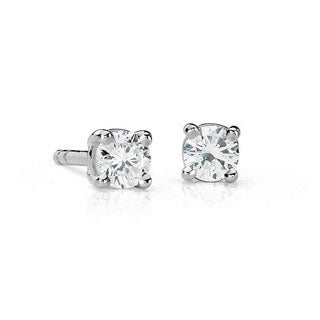 Suzy Levian 14K Gold 1/4ct TDW Classic Four Prong Diamond Stud Earrings (G-H, SI2-SI3)