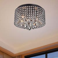 Silver Orchid Taylor 4-light Antique Black and Crystal Drum Shade Flush Mount Chandelier