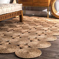 nuLOOM Alexa Eco Natural Fiber Braided Reversible Circles Jute Rug (5' x 8') - 5' x 8'
