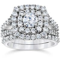 10k White Gold 2ct TDW Diamond Double Halo Wedding Ring Set