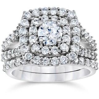 10k White Gold 2ct TDW Diamond Double Halo Wedding Ring Set