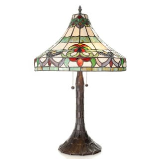 Claire 2-light Tiffany-style 16-inch Pull Chain Table Lamp