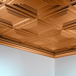 Fasade Traditional Style #3 Polished Copper 2 ft. x 4 ft. Glue-up Ceiling Tile