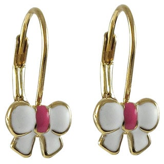 Luxiro Gold Finish Children's Enamel Bow Leverback Earrings