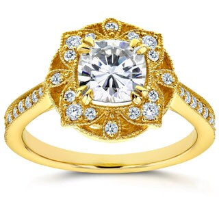 Annello by Kobelli 14k Gold Cushion-cut Moissanite and 1/4ct TDW Diamond Antique Tapered Ring
