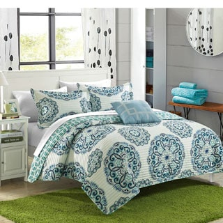 Chic Home Miranda Medallion Reversible 8-piece Quilt Bed in a Bag with White Sheet Set
