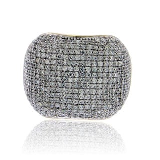 Suzy Levian Yellow Sterling Silver Pave Cubic Zirconia Modern Pave Ring