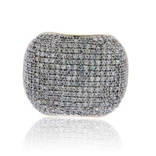 Suzy Levian Yellow Sterling Silver Pave Cubic Zirconia Modern Pave Ring - Gold