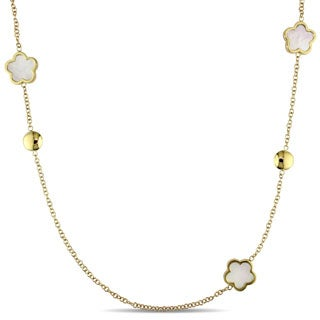 Miadora Signature Collection 18k Yellow Gold 12mm Flower Mother of Pearl Necklace
