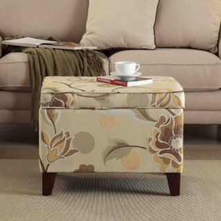 HomePop Yellow Floral Storage Ottoman