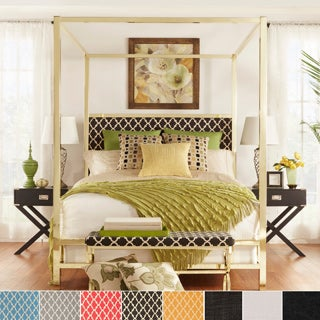 solivita king size canopy gold metal poster bed by inspire q