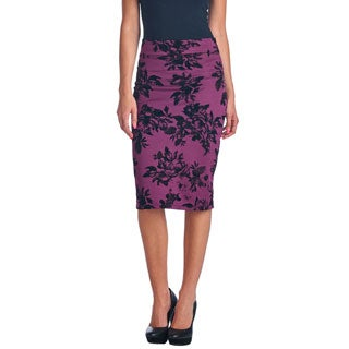 Popana Women's Mid Length High Waist Scuba with Flocking Pencil Skirt