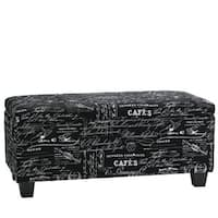 The Gray Barn Lawrenny Road Black Script Fabric Storage Ottoman Bench