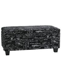 Cortesi Home Mamet Black Script Fabric Storage Ottoman Bench