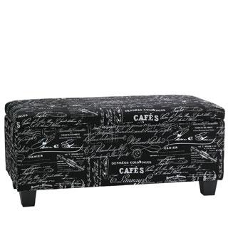 Cortesi Home Mamet Black Script Fabric Storage Ottoman Bench